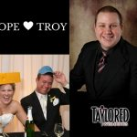 MC, DJ, Brad Borchardt, Bride, Groom. Wedding, Reception, Wedding Reception, Guests, music, dancing, dance floor, uplighting, backdrop, wedding party, toasts