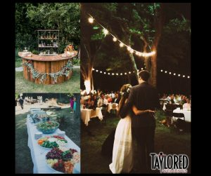 rustic, country, outside, backyard wedding, outdoor ceremony, outdoor reception, backyard party, backyard reception, bride, groom, reception ideas, decor ideas, outdoor bar, family, friends, love, laughter